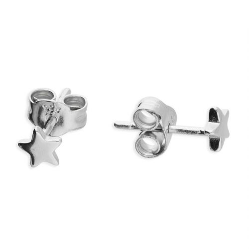 Sterling Silver Star Polished Stud Earrings